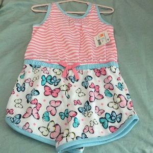 NET 4t romper butterfly and pink stripes 3 for $20